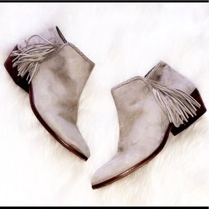 SAM EDELMAN Gray Suede Fringe Ankle Booties